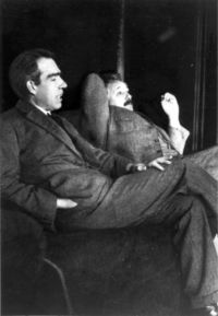 Albert Einstein and Niels Bohr in Leiden, December 1925 (Photo taken by Paul Ehrenfest)
