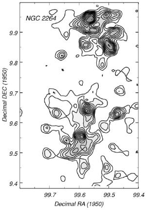 Kontur kerapatan permukaan sumber-sumber inframerah (pita J) dalam gugus muda NGC 2264. Ini adalah contoh gugus yang memiliki struktur hierarkhis