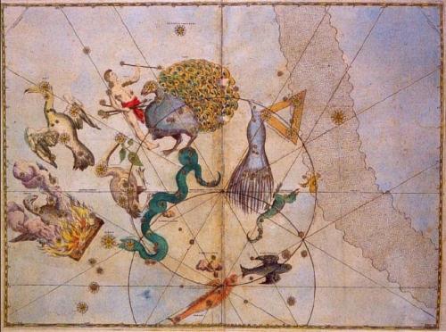 Konstelasi langit selatan yang dibentuk Petrus Plancius dalam Uranometria (1603) yang disusun Johannes Bayer. Dapatkah Anda menemukan Awan Magellan Besar dan Kecil dalam atlas ini?