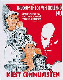 Poster CPN mendukung kemerdekaan Indonesia
