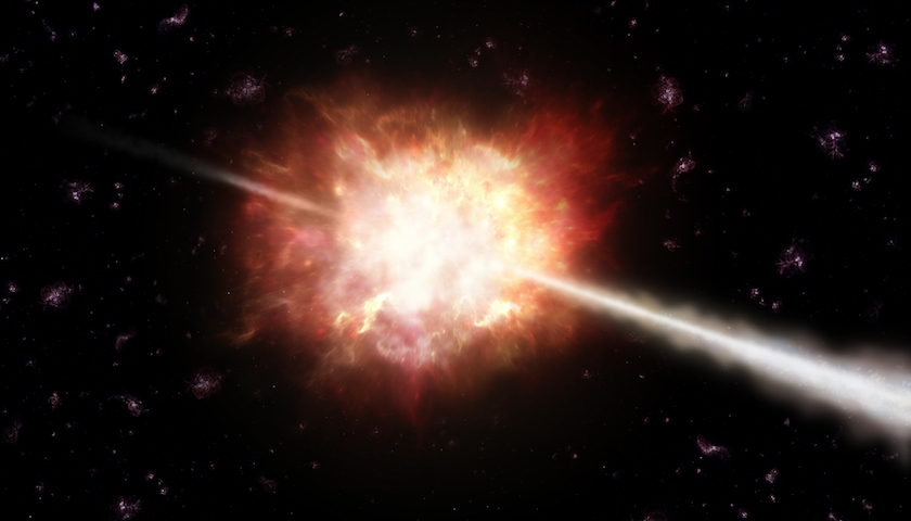 An artist impression of a Gamma-Ray Burst (GRB). A description of observational and theoretical aspects of GRBs can be found in Chapter 1.2, while the mechanisms of VHE photon productions in GRBs is discussed in Chapter 2.1. Credit: ESO/A. Roquette.