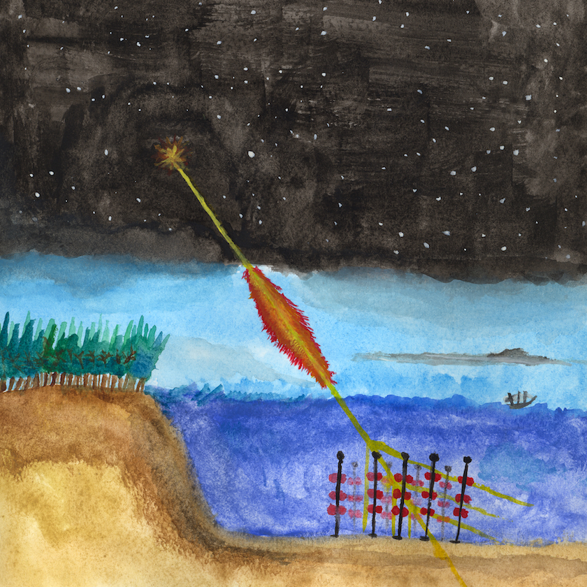 An illlustration of the physical processes described in this dissertation. A Gamma-Ray Burst (GRB) emits high-energy γ-rays towards the Earth. Depending on the distance to the GRB and the energy of the γ-ray, some of them will get annihilated by the cosmic infrared background. Those that survive will initiate electromagnetic showers in the atmosphere, producing some amount of muons. The muons then penetrate the sea, losing their energy along the way. As the muons traverse the sea, electromagnetic shock-waves will be generated in the form of Čerenkov photons. These photons will then be detected as signals by the array of photomultiplier tubes that comprise ANTARES. Illustration by the author.